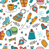 Cute hand drawn seamless pattern of winter related graphics Stock Photography