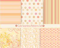 Cute hand-drawn seamless patterns. Endless texture for paper or scrap booking. All patterns in swatches panel Royalty Free Stock Images