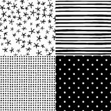 Cute hand drawn seamless patterns set Royalty Free Stock Photography