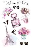 Cute hand drawn set with fashion stickers: beautiful woman, parfume bottle, flowers, shoes, eiffel tower and sunglasses. Stylish stickers collection. Sketch Stock Photos