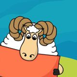 Cute hand drawn sheep with empty banner Stock Photography