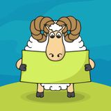 Cute hand drawn sheep with empty banner Stock Photo