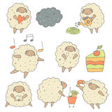 Cute hand drawn sheep set Stock Images