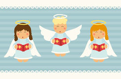 Cute hand drawn singing Christmas angel characters. For your decoration Stock Photos