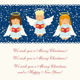 Cute hand drawn singing Christmas angel characters. For your decoration Stock Image