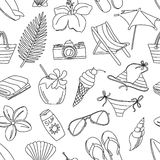 Cute hand drawn sketch line icons seamless pattern. Black and wh Stock Images