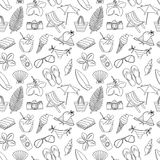 Cute hand drawn sketch line icons seamless pattern. Black and wh Stock Photography
