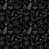 Cute hand drawn sketch line icons seamless pattern. Black and wh Royalty Free Stock Image