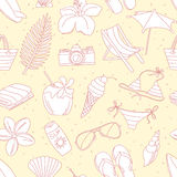 Cute hand drawn sketch line icons seamless pattern Stock Photo
