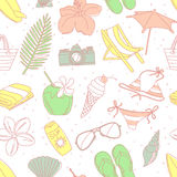 Cute hand drawn sketch line icons seamless pattern Stock Photography