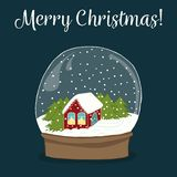 Cute hand drawn snow globe with house inside. Merry Christmas co stock illustration