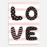 Cute hand drawn St. Valentine`s Day vector card. royalty free illustration