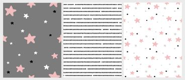 Cute Hand Drawn Stars And Stripes Irregular Vector Patterns. Pink, Black, White And Light Gray Stars. Stock Photography