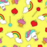 Cute hand drawn stitch patch icon seamless pattern Stock Image