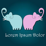 Cute hand drawn style elephants Royalty Free Stock Images
