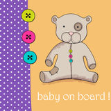 Cute hand drawn style teddy bear for baby boy Stock Photos