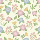 Cute hand drawn summer pastel colors flowers Stock Photos