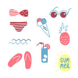 Cute hand drawn summer set of elements. Vector illustration on white background Royalty Free Stock Image