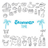 Cute hand drawn summer time collection. Beach theme doodle set. Royalty Free Stock Photos