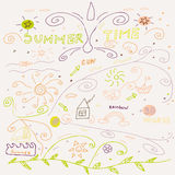 Cute hand drawn summer time collection Stock Photo