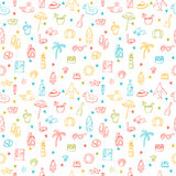 Cute hand drawn summer time theme seamless pattern. Beach theme Stock Image