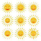 Cute hand drawn sun icons with smile. Vector. Illustration Royalty Free Stock Photography