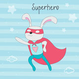Cute hand drawn superhero rabbit animal vector illustration.  Royalty Free Stock Photography