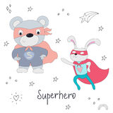 Cute hand drawn superhero teddy bear and rabbit animal vector illustration.  Royalty Free Stock Photography