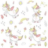 Cute hand drawn unicorn vector illustration