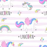 Cute hand drawn unicorn vector pattern. vector illustration Royalty Free Stock Images