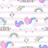 Cute hand drawn unicorn vector pattern. vector illustration. Royalty Free Stock Photos