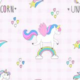 Cute hand drawn unicorn vector pattern. vector illustration. Stock Photo