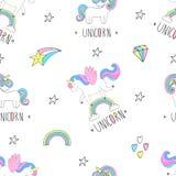 Cute hand drawn unicorn vector pattern. vector illustration. Stock Photography