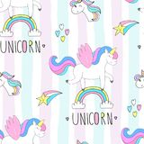 Cute hand drawn unicorn vector pattern. vector illustration royalty free stock image