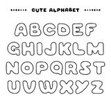 Cute hand drawn uppercase alphabet. Linear style ABC letters. Design for book cover, poster, card Stock Photo