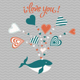 Cute hand drawn Valentine`s Day card. Funny happy fish whale with hearts and the words I love you  illustration can be used as a print or card cute hand-drawn Stock Photo