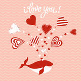 Cute hand drawn Valentine`s Day card Stock Image