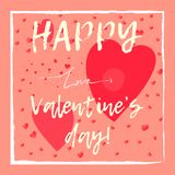 Cute hand drawn Valentine`s day card. Cute hand drawn Valentine`s day greeting card with big pink hearts, arrow and thin square white frame. Elegant lovely royalty free illustration