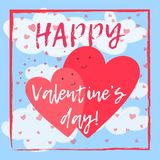 Valentine`s day card with lovely hearts in clouds. Cute hand drawn Valentine`s day greeting card with two lovely hearts flying in blue sky with clouds. Funny Royalty Free Stock Photos