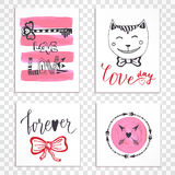 Cute hand drawn Valentines day cards with lettering.  Royalty Free Stock Photos