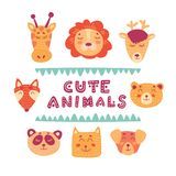 Cute hand drawn vector animals illustration royalty free illustration