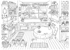Cute Hand Drawn Vector Illustration Of Vintage Country Style Kitchen With Nobody, Funny Scene Creator Royalty Free Stock Photography