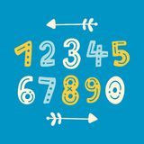 Cute hand drawn vector numbers with border arrows. Colorful mathematical icons set. Education signs in colors of blue, yellow and white Royalty Free Stock Photo