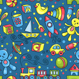Cute hand-drawn vector seamless pattern with toys blue Royalty Free Stock Photo