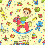Cute hand-drawn vector seamless pattern with toys Stock Photo