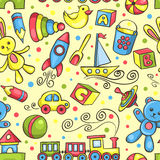 Cute hand-drawn vector seamless pattern with toys. Cartoon background royalty free illustration