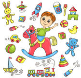Cute hand-drawn vector set with toys Royalty Free Stock Photos