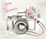 Cute hand drawn vintage camera vector illustration Stock Photography