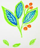 Cute hand-Drawn watercolor flower stem with leaves and berries. Blue and green spring flowers, Botanical garden plants