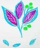 Cute hand-Drawn watercolor flower stem with leaves and berries. Blue and purple, spring flowers, Botanical garden plants